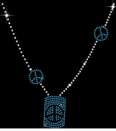 SALE! Sparkly Rhinestud Rhinestone Blue & Silver Peace Sign Necklace Neckline Plus Size & Supersize T-Shirts S M L XL 2x 3x 4x 5x 6x 7x 8x 9x (All Colors)