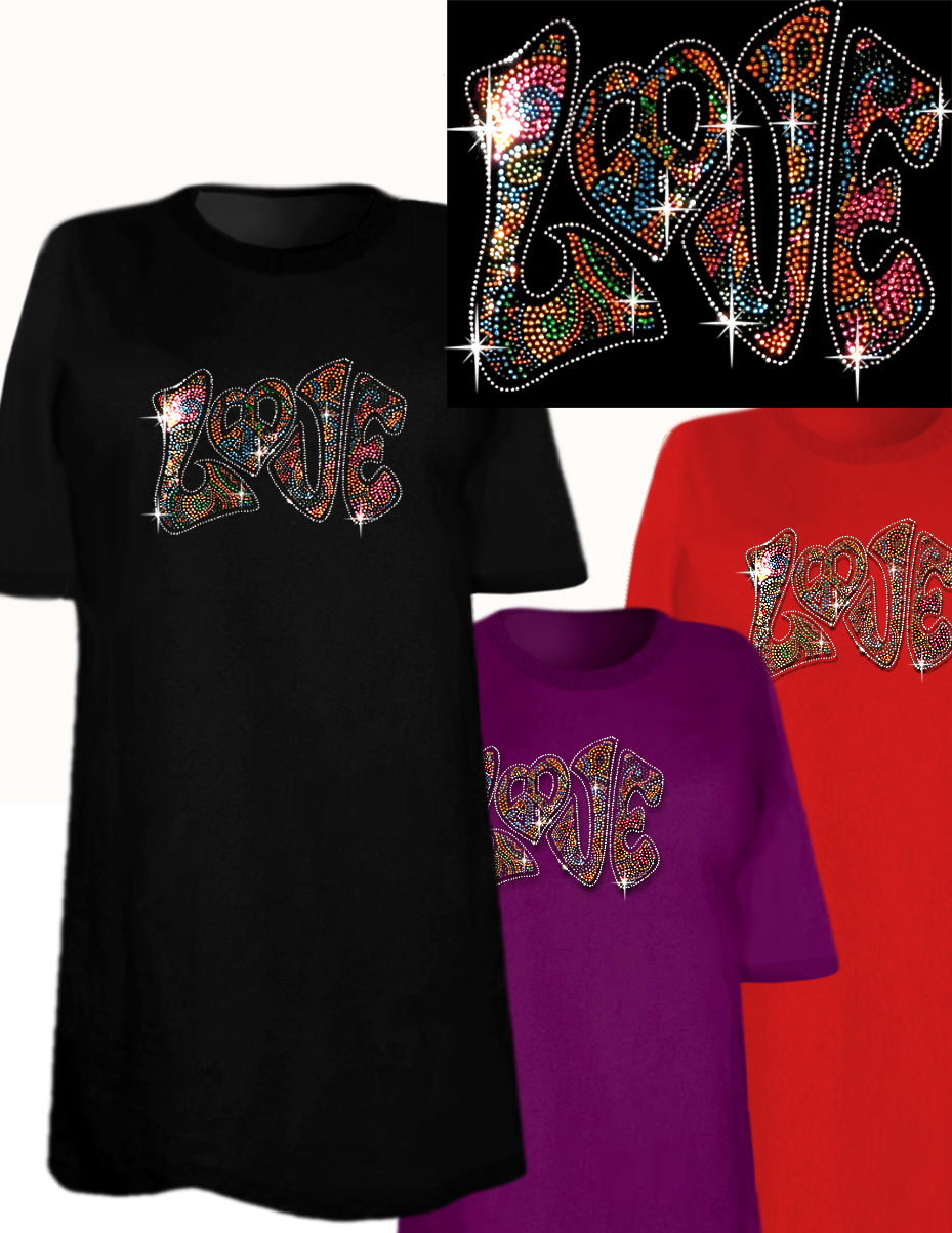 Sale sparkly rhinestud rhinestone colorful love plus size for 3x shirts on sale