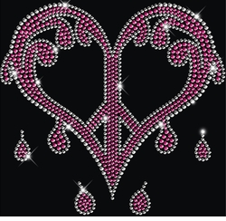 SALE! Sparkly Rhinestud Rhinestone Pink & Silver Dripping Peace Heart Plus Size & Supersize T-Shirts S M L XL 2x 3x 4x 5x 6x 7x 8x 9x (All Colors)