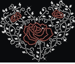 SALE! Sparkly Rhinestud Rhinestone Red & Silver Rose Heart Ivy Plus Size & Supersize T-Shirts S M L XL 2x 3x 4x 5x 6x 7x 8x 9x (All Colors)