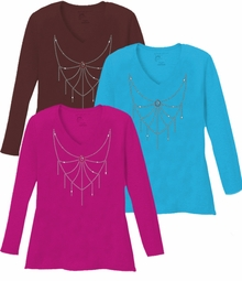 SALE! Sparkly Rhinestud Spider Web Neckline V Neck/Round Neck Long Sleeve Plus Size Shirt 5x White Teal Raspberry Brown