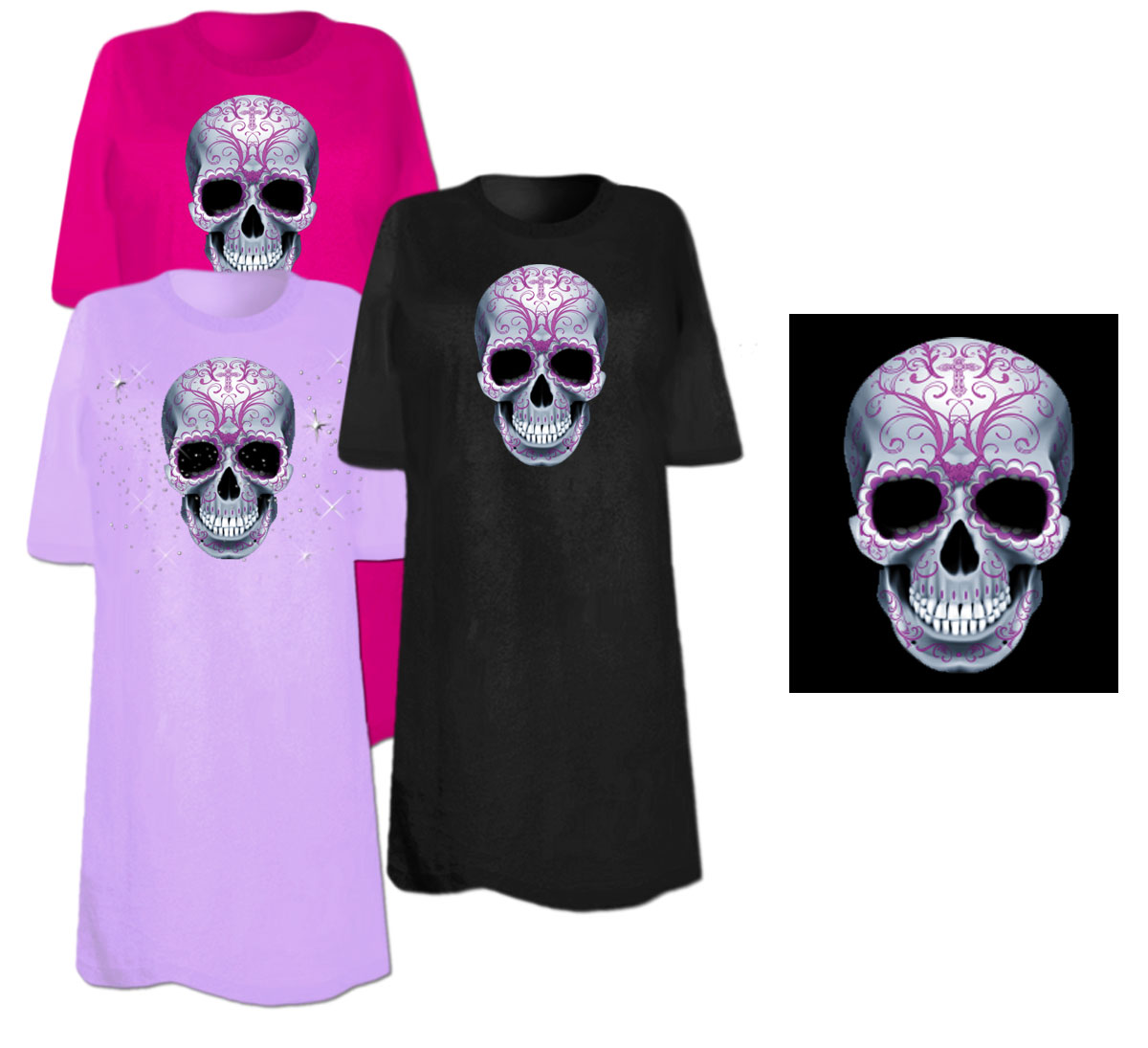 Sale Candy Sugar Skull Plus Size Supersize T Shirts S M