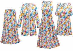 NEW! Sunday Morning Floral Slinky Print - Plus Size Slinky Dresses Shirts Jackets Pants Palazzo�s & Skirts - Sizes Lg to 9x