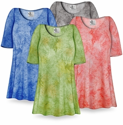 CLEARANCE! Blue Ribbed Tie Dye Print Plus Size & Supersize Extra Long T-Shirts 3x
