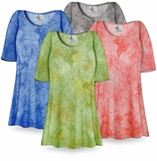 SALE! Blue Ribbed Tie Dye Print Plus Size & Supersize Extra Long T-Shirts 6x