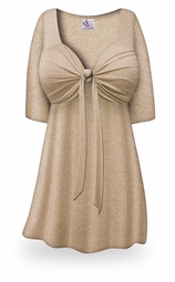Tan with Silver Glimmer Tie Babydoll Shirt Plus Size & Supersize Lg to 8x