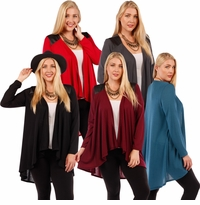 SALE! Plus Size Red or Teal Open Style Cardigan Jacket with Perforated Vegan Leather Shoulder Accents  4x 6x