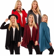 SALE! Plus Size Black, Charcoal, Brown, Red or Teal Open Style Cardigan Jacket with Perforated Vegan Leather Shoulder Accents  4x 5x 6x