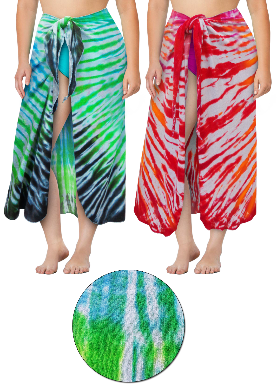 1f1f9a5534b34 Terry Fabric Tie Dye Plus Size Sarong - Swimsuit Coverup - 1x 2x 3x 4x 5x  6x 7x 8x