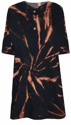 SOLD OUT! Tie Dye Black Hole Swirl Black Henley Style Dickies Heavy Weight Button Short Sleeve Plus Size Shirt 3xl