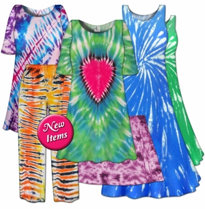 <font size=4 color=red>New! <font size=4 color=purple>Plus Size Tie Dye Items! T-Shirts - Dresses - Jeans - Pants - Skirts