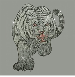 SALE! Tiger Attack in Silver & Black Rhinestone / Studs Plus Size & Supersize T-Shirts S M L XL 2x 3x 4x 5x 6x 7x 8x 9x (All Colors)