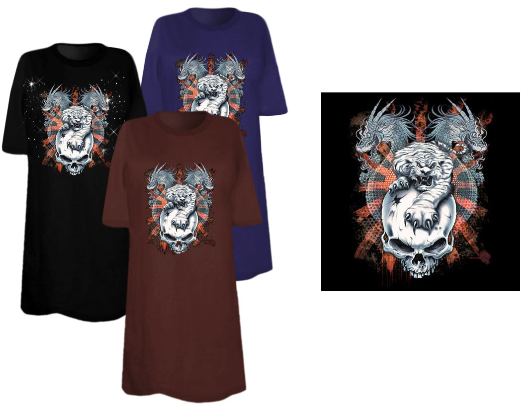 Sale tiger dragon skull plus size supersize t shirts s for 3x shirts on sale