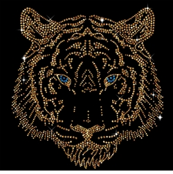 Tiger Head Portrait Sparkly Rhinestuds Plus Size & Supersize T-Shirts S M L XL 2x 3x 4x 5x 6x 7x 8x 9x (All Colors)