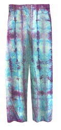 CLEARANCE! Turquoise & Purple Tie Dye Straight Leg Pocket Zippered Plus Size Denim Jeans and Capris 34W