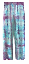 SOLD OUT! CLEARANCE! Turquoise & Purple Tie Dye Straight Leg Pocket Zippered Plus Size Denim Jeans and Capris 34W