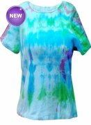 SALE! Tie Dye Blue Round Neck Petite T-Plus Size & Supersize Shirt 2xP