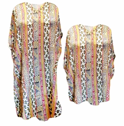 SALE! Vertical Safari Leopard Tribal Print Plus Size & Supersize Caftan Dress or Shirt 1x to 6x