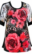 SOLD OUT! Just Reduced! White Rose Floral Short Sleeve Slinky Top Plus Size