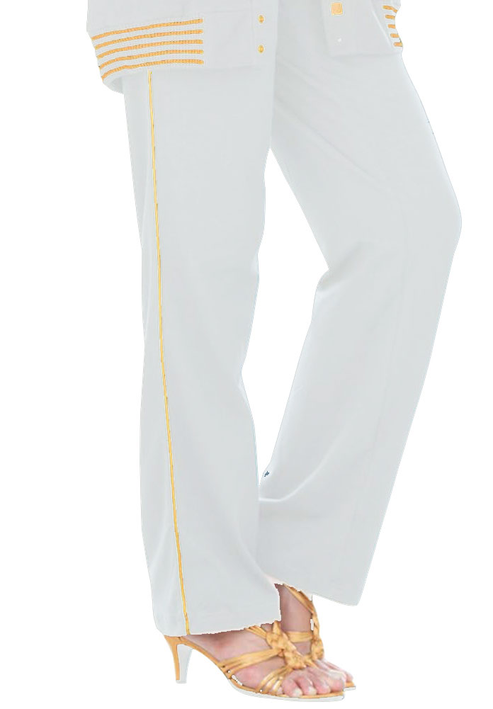 SOLD OUT! FINAL SALE! White & Gold Piped Plus Size Dress Pants 5x