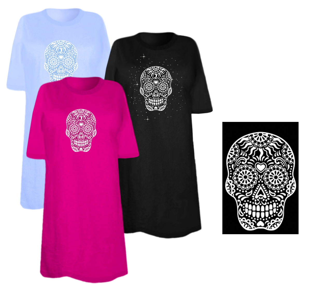Sale white sugar skull smiling with heart on forehead for 3x shirts on sale