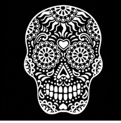 SALE! White Sugar Skull Smiling With Heart on Forehead Plus Size & Supersize T-Shirts S M L XL 2x 3x 4x 5x 6x 7x 8x 9x (All Colors)