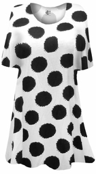 SOLD OUT! SALE! White With Black Dots Plus Size & Supersize Extra Long T-Shirts 4x 5x 6x 8x