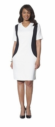 SALE! White With Black, Black, or Navy With White Plus Size V Neck Color Block Ponte Dress
