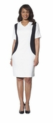 CLEARANCE! White With Black, Black, or Navy With White Plus Size V Neck Color Block Ponte Dress 4x