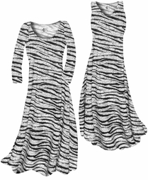 SOLD OUT! White With Black Zebra Stripes With Dots Slinky Print Plus Size & Supersize Standard or Cascading A-Line or Princess Cut Dresses & Shirts, Jackets, Pants, Palazzo's or Skirts Lg to 9x