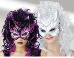 SALE! Wig & Mask Combination! Purple & Black Sorceress or White & Silver Fairy Angel - SALE!