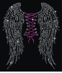 Wings & Corset Tie On Backside Rhinestuds Rhinestones Plus Size & Supersize T-Shirts S M L XL 2x 3x 4x 5x 6x 7x 8x 9x (All Colors)
