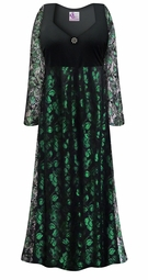 Customizable Plus Size Black & Green Lace Floral Print Empire Waist Dress With Rhinestone Detail Lg XL 0x 1x 2x 3x 4x 5x 6x 7x 8x