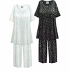 CLEARANCE! White & Green Hearts Print Plus Size & SuperSize 2 Piece Pajama Pant Set 8x