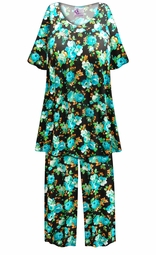 SOLD OUT! SALE! Customizable Black with Blue Roses Print Plus Size & SuperSize 2 Piece Pajama Pant Set 0x 1x 2x 3x 4x 5x 6x 7x 8x 9x