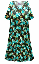 SOLD OUT! SALE! Customizable Black with Blue Roses Print Plus Size & SuperSize Muumuu - Moo Moo Dress 0x 1x 2x 3x 4x 5x 6x 7x 8x 9x