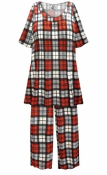 SALE! Customizable Red/Gray Plaid Print Plus Size & SuperSize 2 Piece Pajama Pant Set 0x 1x 2x 3x 4x 5x 6x 7x 8x 9x