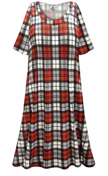 SALE! Customizable Red/Gray Plaid Print Plus Size & SuperSize Muumuu - Moo Moo Dress 0x 1x 2x 3x 4x 5x 6x 7x 8x 9x