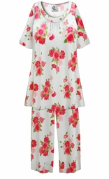 SALE! Customizable Roses Print Plus Size & SuperSize 2 Piece Pajama Pant Set 0x 1x 2x 3x 4x 5x 6x 7x 8x 9x