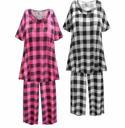 SOLD OUT! SALE! Customizable Plaid Print Plus Size & SuperSize 2 Piece Pajama Pant Set 0x 1x 2x 3x 4x 5x 6x 7x 8x 9x