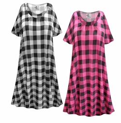 SOLD OUT! SALE! Customizable Plaid Print Plus Size & SuperSize Muumuu - Moo Moo Dress 0x 1x 2x 3x 4x 5x 6x 7x 8x 9x