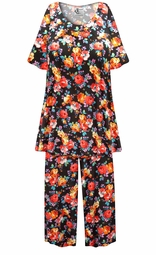 SALE! Customizable Plus Size Roses Print 2 Piece Pajama Pant Set 0x 1x 2x 3x 4x 5x 6x 7x 8x 9x