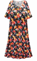 SALE! Customizable Plus Size Roses Print Sleep Gown - Muumuu - Moo Moo Dress 0x 1x 2x 3x 4x 5x 6x 7x 8x 9x