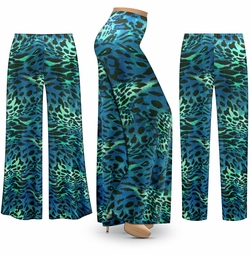 SOLD OUT! SALE! Customizable Teal & Green Animal Slinky Print Plus Size & Supersize Palazzo Pants - Tapered Pants - Sizes Lg XL 1x 2x 3x 4x 5x 6x 7x 8x 9x