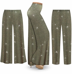 SALE! Customizable Plus Size Sparkling Olive Glitter Slinky Print Palazzo Pants - Tapered Pants - Sizes Lg XL 1x 2x 3x 4x 5x 6x 7x 8x 9x