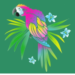 FINAL SALE! Neon Tropical Parrot on Shamrock Green Plus Size T-Shirt 4x