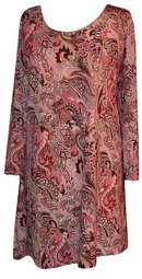 SOLD OUT! SALE! Pink Paisley Sequins Plus Size & Supersize Extra Long Shirts  1x