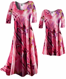 SOLD OUT! FINAL SALE! Pink & Purple Abstract Floral Slinky Plus Size Dresses & Tops 2x 7x
