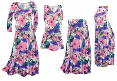 SOLD OUT! Pink, Purple, and Blue Bellflowers Slinky Print - Plus Size Slinky Dresses Shirts Jackets Pants Palazzo�s & Skirts - Sizes Lg to 9x