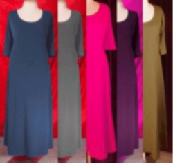 Pink-Purple-Blue-Gray-Olive Poly/Cotton Princess Cut Plus Size & Supersize Dresses 3x 4x 5x 6x